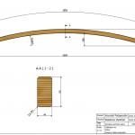 Łuk konstrukcyjny 44x90x3600 Rw-5800 - rysunek techniczny