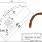 Łuk wspornikowy 115x115x2660 Rw-1880 - rysunek techniczny