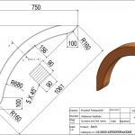 Łuk wspornikowy 90x90x1061 - rysunek techniczny