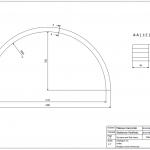 Półkole 44x44x1200 - rysunek techniczny